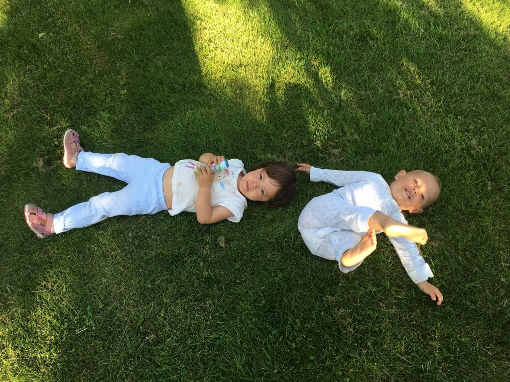Naomi and Sienna in the grass